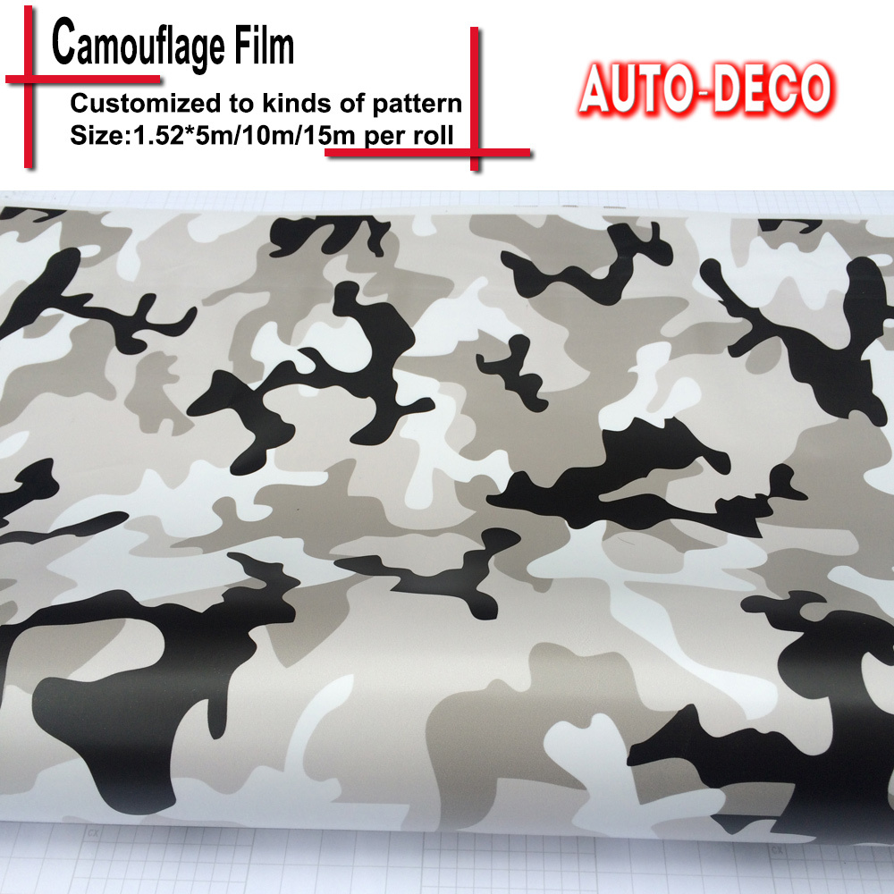 Retail camouflage vinyl sticker wrap car color change rolls sheet snow camo vinyl foil with air bubble free