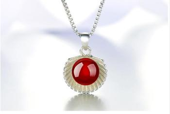 Lady 925 sterling silver short bi Necklace natural red black agate Pendant chain Jewelry Earring Set Korean version