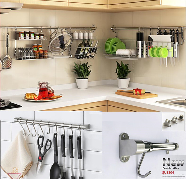 Stainless Steel Kitchen Shelf With Hooks - Creepingthyme.info