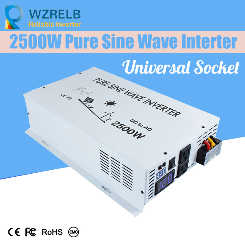 Universal Socket Reliable Electric Pure Sine Wave Inverter 2500 Watt Power Inverter Connected 12 Volt Dc Battery 35%OFF