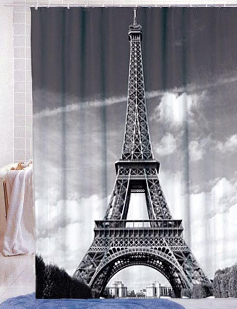 Great New Paris Eiffel Tower Pattern Design Home Bathroom Polyester Shower Curtain  Waterproof 12 Hooks(China