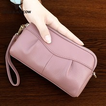 2019 New Big Capacity Women Day Clutches Leather Long Wallet 6inch Phone Bag Casual Street String Money Coin Purse 5 Colors