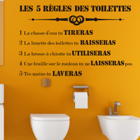 Stickers 5 Toilet Rules Vinyl Wall Art Decor WC Mural Decal Wash Room Home Decor Poster House Decoration 37 cm x 58 cm