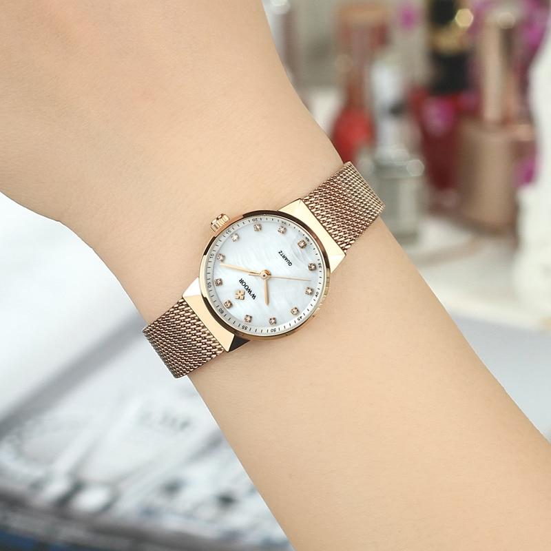 WWOOR Märke Luxury Women Vattentät Quartz Watch Ladies Rose Gold - Damklockor - Foto 5