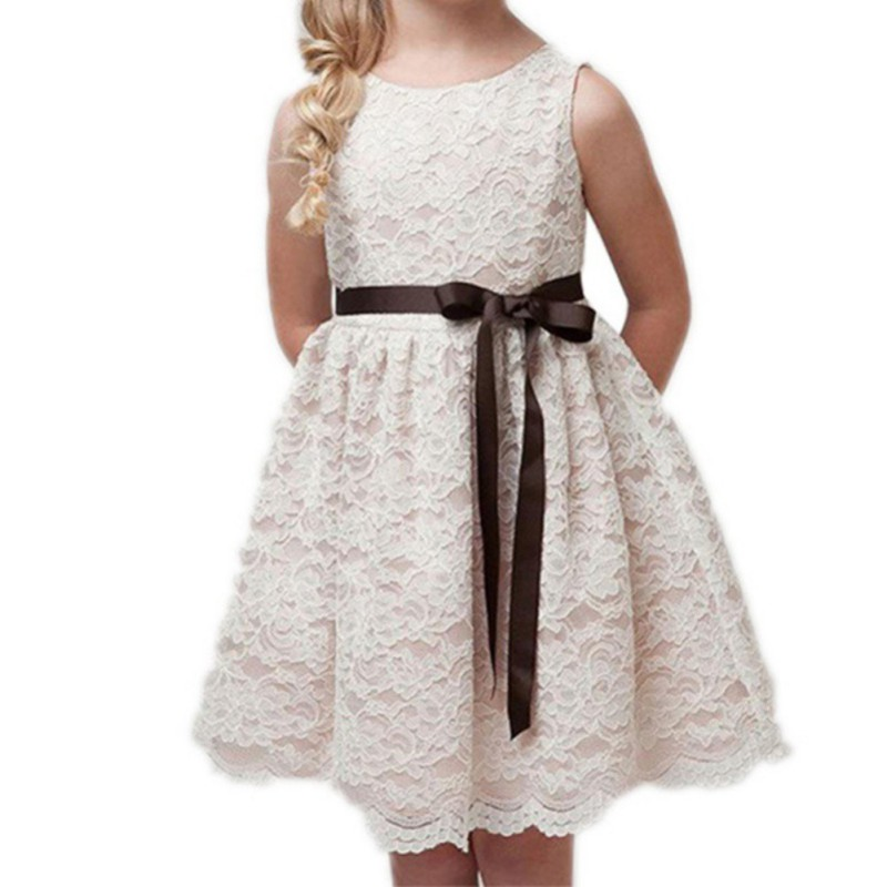 children clothes girls beautiful lace dress with belt high quality white baby girls dress teenager kids dress for age 4-12 years day dress