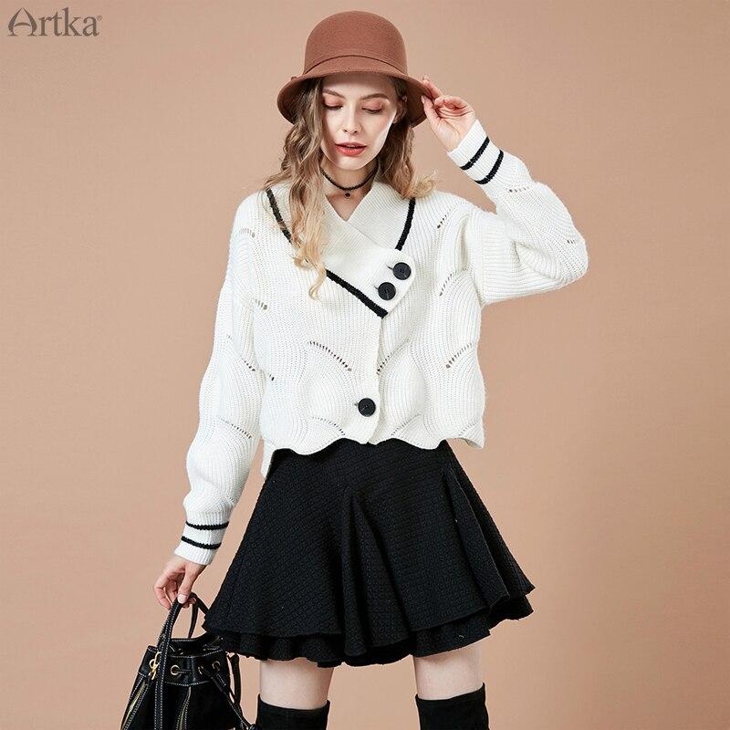 ARTKA 2019 otoño nuevo suéter tejido mujer Casual sólido blanco Cardigans cuello en V manga larga suéter de punto abierto WB10585Q-in Caquetas de punto from Ropa de mujer    1
