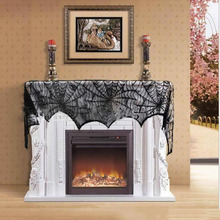hot sale halloween party supplies fireplace mantle scarf cover black lace spiderweb table cloth for halloween decoration
