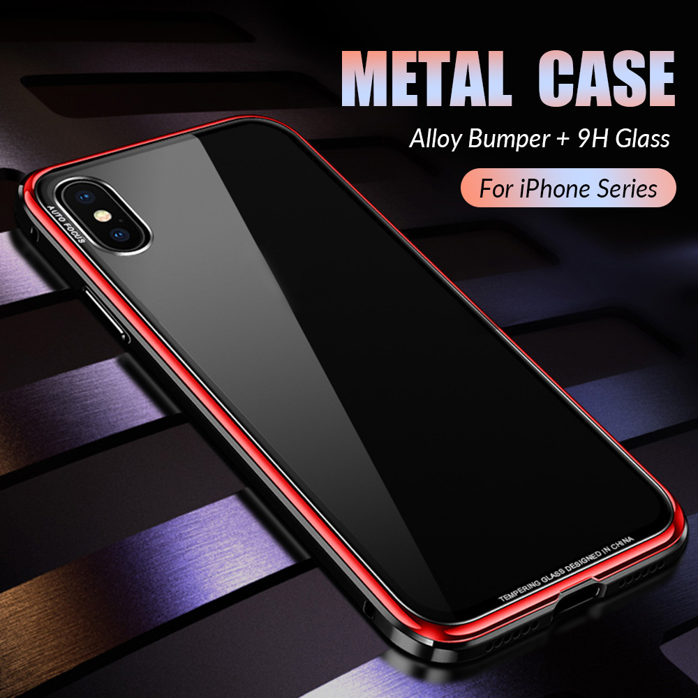 Luxury Metal Case for iPhone XR XS Max Case Aluminium Metal Bumper Tempered Glass Phone Cases For iPhone X 7 8 Plus Cover Coque iPhone XS