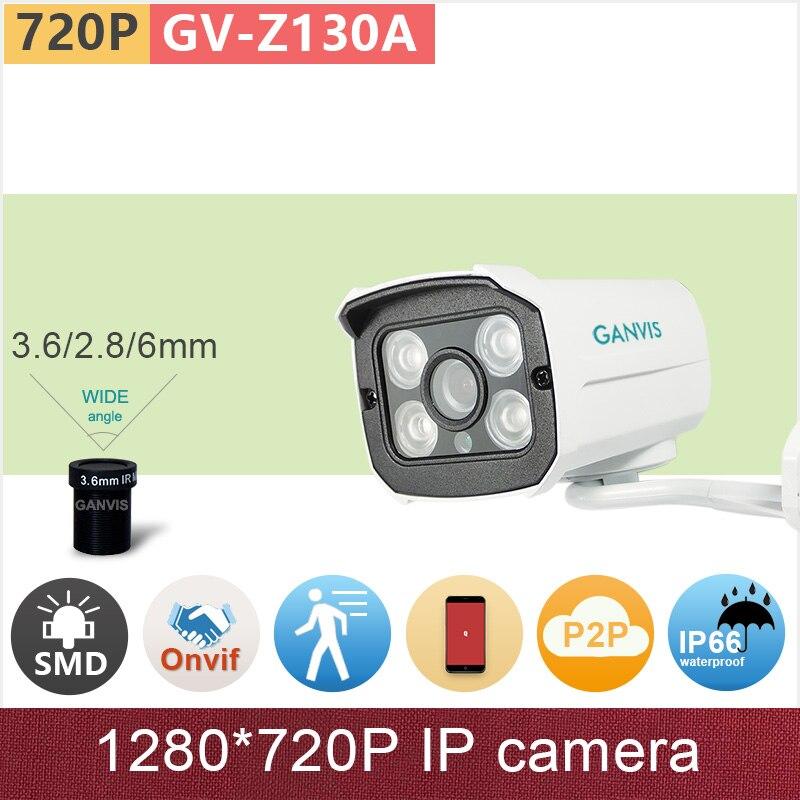 Outdoor waterproof HD 1mp IP camera 720P array IR LED security CCTV surveillance camera network digital video GANVIS GV-Z130A zea afs011 600tvl hd cctv surveillance camera w 36 ir led white pal