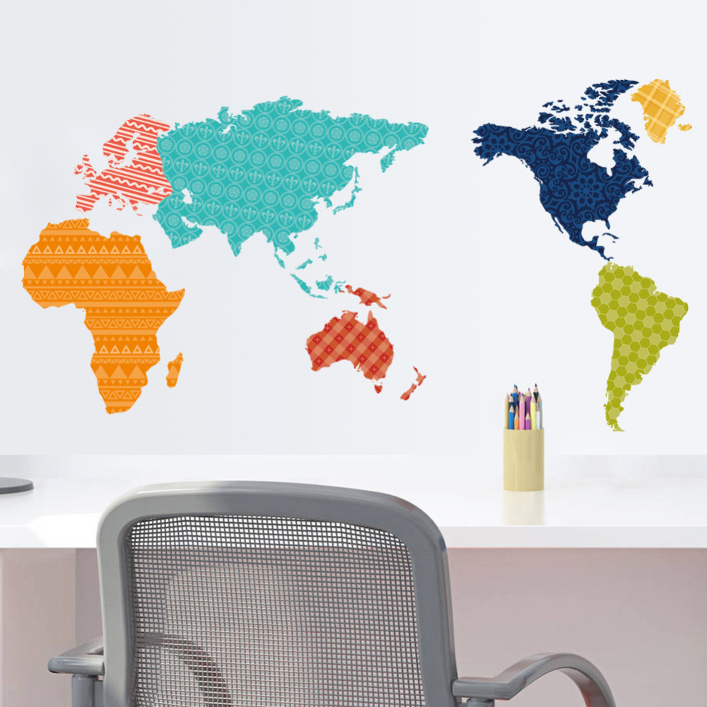 Colorful world map wall stickers living room home decorations colorful world map wall stickers living room home decorations creative pvc decal mural art diy office wall art in wall stickers from home garden on amipublicfo Gallery
