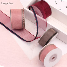Kewgarden 38mm 25mm Wave Edge Voile Ribbons Handmade Tape DIY Bowknot Organza Ribbon Riband Packing 5M