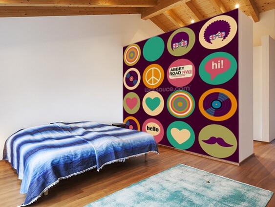 Custom art wallpaper,Pop Art British Musical Pattern,3D retro ...