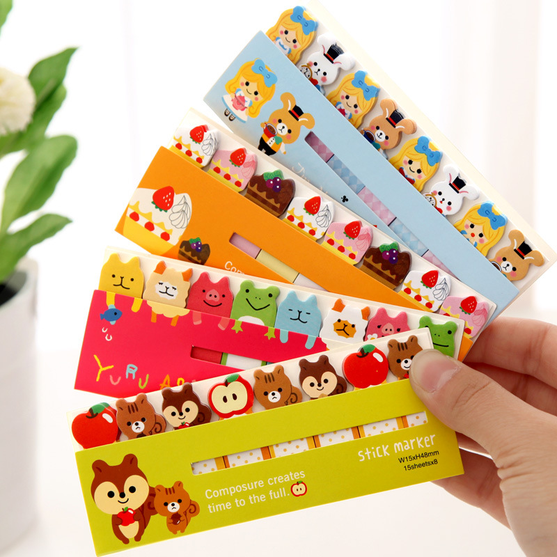 6 Pcs Cartoon Sticky Note Post Stick Marker Memo Stickers Bookmark Cute Animal Cat  Dog Stationery Office School Supplies A6754