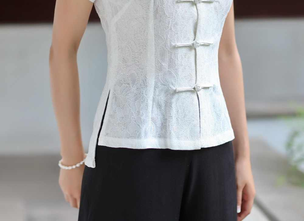 New Arrival Summer Chinese Style Lace Women Tang Suit Tops Blouse Traditional Elegant Slim Shirt M L XL XXL XXXL 2520-5