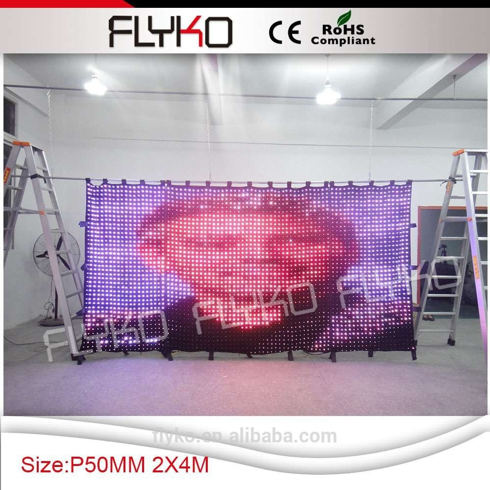 Free Shipping led vision curtain/video curtain/screen/Pitch 50mm/DMX/DJ/sound/Flexible