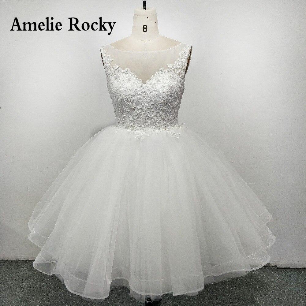 Illusion Neck Ball gown Short Wedding Dresses 2018 Princess Knee ...