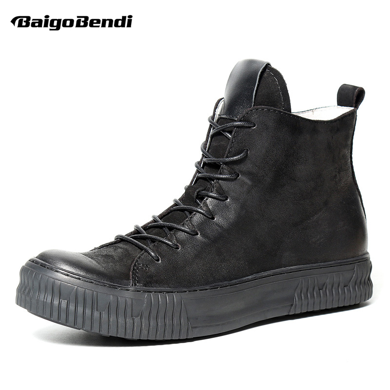 Polecam!!! Nowe męskie buty z prawdziwej skóry okrągłe Toe zasznurować buty jeździeckie człowiek biznesu zimowe buty pustynne w Podstawowe buty od Buty na  Grupa 1