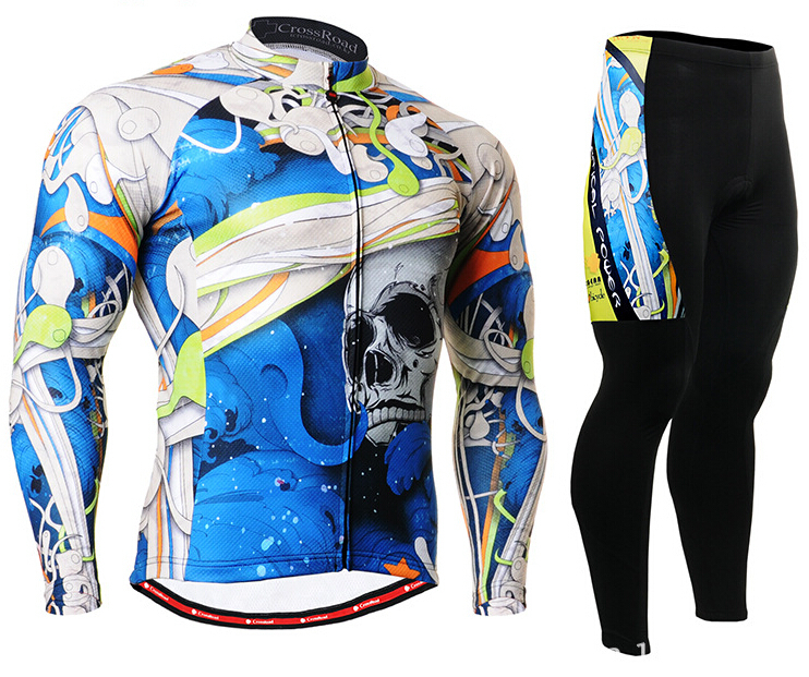 2017 Mens Cycling Jerseys Sets Spring/Autumn Long Sleeve Bike Clothing Gel Pad Outdoor Sports Kit Blue Skull Ropa Ciclismo new 17 black red spider mens breathable bike clothing polyester autumn long sleeve cycling jerseys size 2xs to 6xl