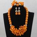 2016 Нигерийских Оранжевый Коралловые Бусы Ожерелье Ювелирные Наборы Африканский Костюм Свадебные Украшения Устанавливает Женщины Подарочные Наборы Бесплатная Доставка ALJ705
