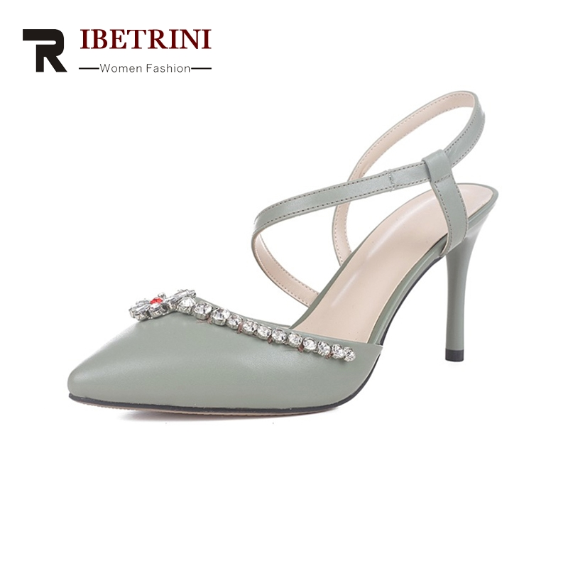 RIBETRINI New women's Genuine Leather Thin High Heels Pointed Toe Solid slip-on Shoes Woman Casual Summer Sandals Size 34-39 sweet women high quality bowtie pointed toe flock flat shoes women casual summer ladies slip on casual zapatos mujer bt123