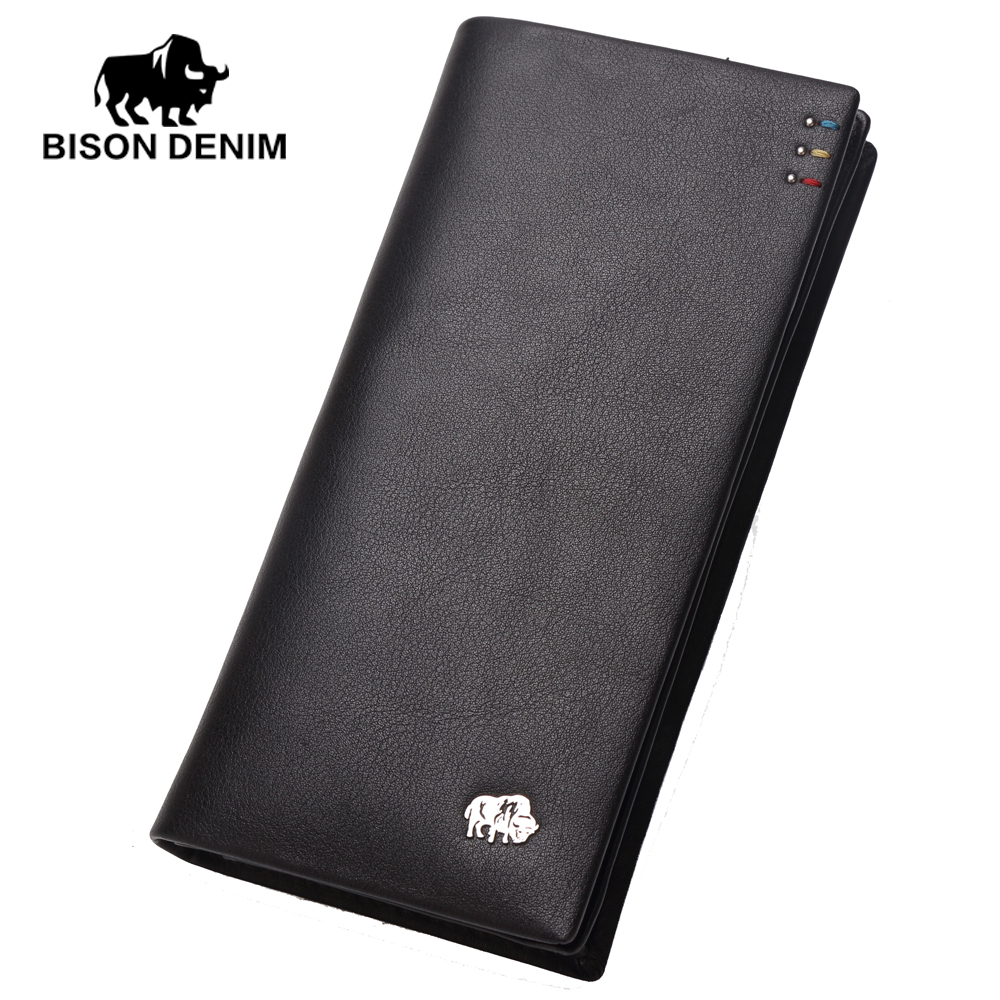 ФОТО BISON DENIM Business casual long wallet Men High top Layer Cowskin purses Brand men Clutch Wallets silver metal Logo N4411