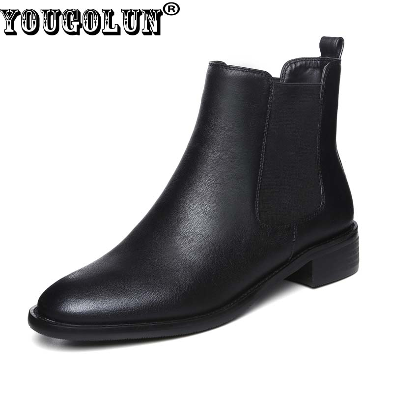 YOUGOLUN Women Ankle Boots Genuine Cow Soft Leather 2017 Autumn Winter Black Square Heel 3 cm Low Heels Round toe Shoes #Y-240 yougolun women ankle boots 2017 autumn black genuine leather square heel 5 cm heels thick heel round toe platform shoes y 061