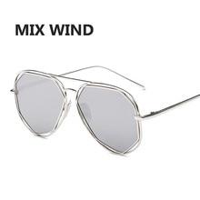 MIX WIND Fashion Women Sunglasses Classic Brand Designer Twin-Beams Coating Mirror Flat Panel Lens Summer Shades UV400