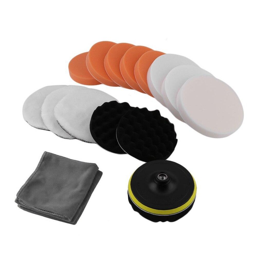 Professionelle 18 teile/satz Polieren Polieren Schwamm Pads Reinigung Werkzeug Kits Auto Autos Sauber Polierer Beschichtung Wachsen Puffer Adapter