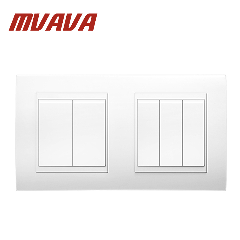 MVAVA 5 Gang Double Electrical Wiring Push Button Light Wall Switch 16A 110~250V 220V Free Shipping Chromed PC  Frame Panel scinder switched socket package 15 steel frame two or three five hole electrical outlet wall switch panel switch