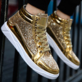 Men's vulcanize shoes big size 39-45 sequined cloth bling fashion sneakers for boys hard-wearing news male sneakers
