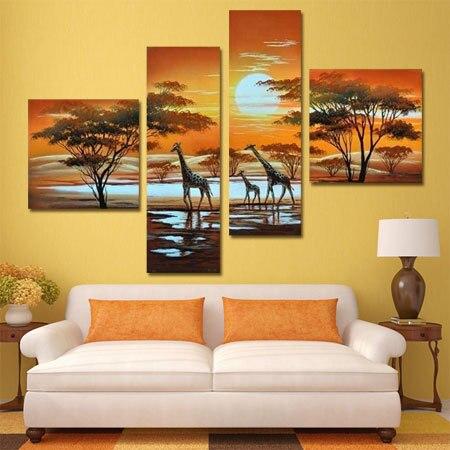 panel moderno pintado a mano africano safari decoarcion pintura cuadros para dormitorio sin marco de