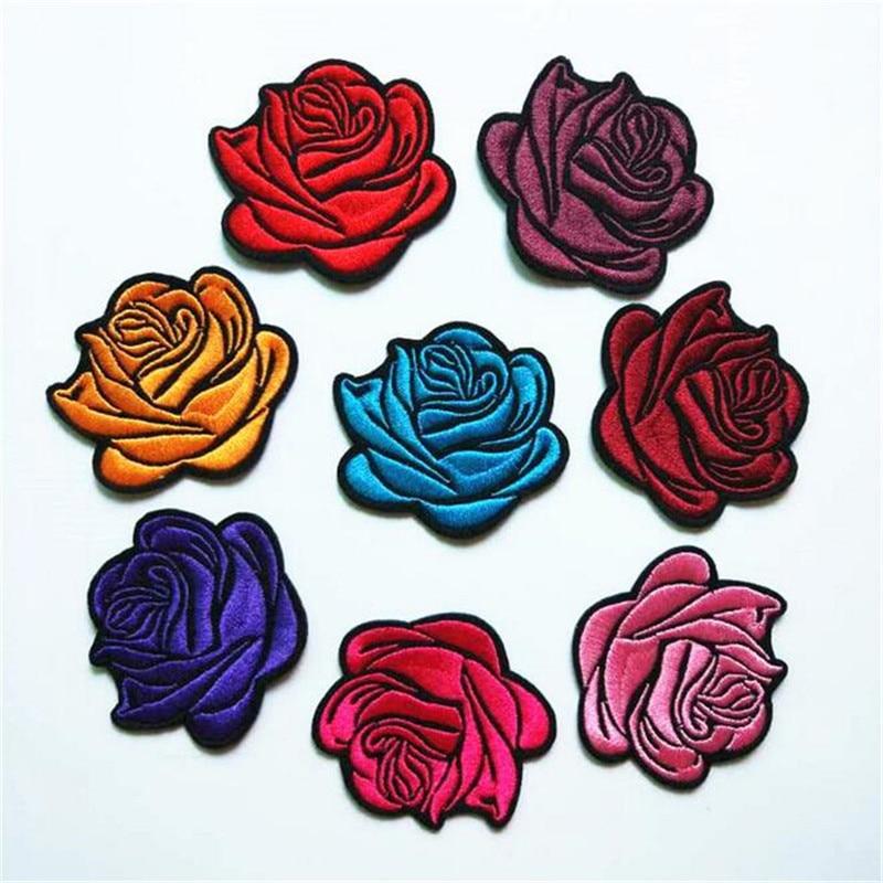 5 teile/los Nähen/Eisen auf Patch für Jeans Jacke Bestickt Applique Abzeichen Rose Blume Patch für Kleidung Stoff Bekleidung DIY