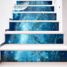 3d 6pcs Dark Forest Moon Pattern Tile Stairs Stickers Pvc Wall Sticker Removable Waterproof Mural Stair Poster Room Decals все цены