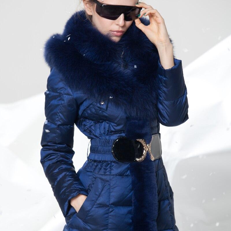 Зимние Для женщин куртка Модные женские X длинные принт Тонкий Толстые Белое пуховое пальто элегантный Европейский Стиль теплое пальто YR207