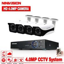 H.264 4MP 2560*1440 P видеонаблюдения Системы HD 8CH AHD DVR NVR комплект 4.0MP Водонепроницаемый Крытый Открытый CCTV Камера Системы