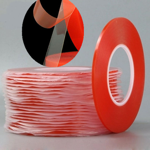 0.2MM 1/2/3/5/10mm 50M Strong Acrylic Adhesive PET Red Film Clear Double Side Tape No Trace For Phone Tablet LCD Screen Glass