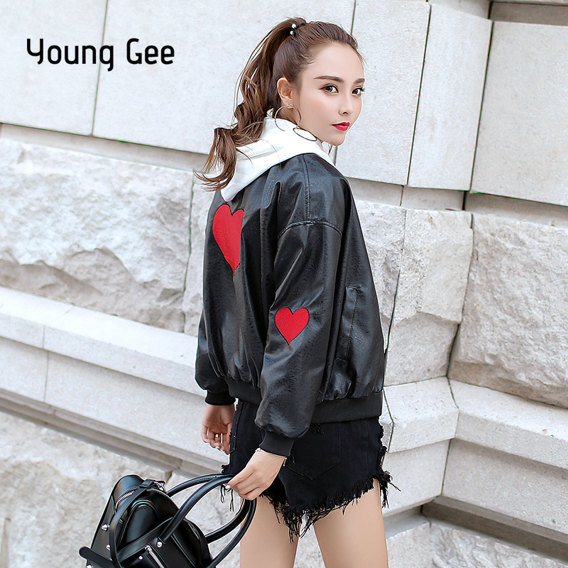 Young Gee Women Black Faux   Leather   Zipper Jackets Autumn Winter 2019 Fashion Basic Coat Biker PU Embroidery Hearts Jacket mujer