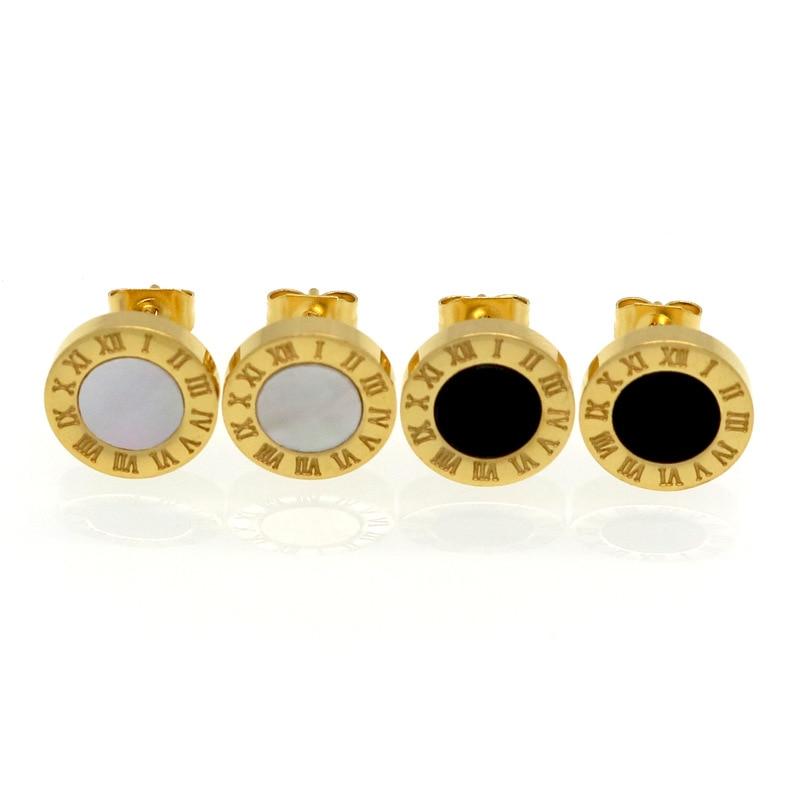 Trendy Stud Earrings Women Roman Numerals Black/white Shells Rose Gold Stainless Steel Jewelry