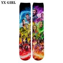 YX GIRL Hot movie The Avengers 3d Print Knee High Socks Superhero character Captain Marvel / iron Man Prints Unisex socks K-3