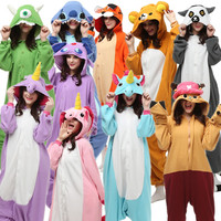 Fleece Adults Halloween Costumes Jumpsuit Onesie Pajamas Tiger Rilakkuma Stitch Unicorn Bear Midnight Cat Dragon Mike