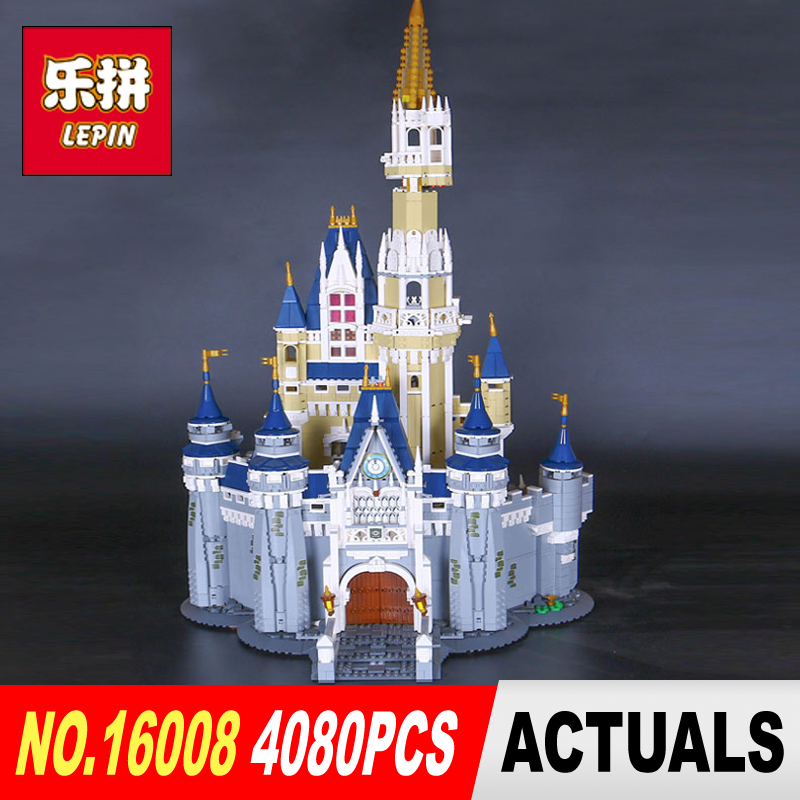 LEPIN 16008 Creator Cinderella Princess Castle City 4080pcs Model Building  Block Children Toy Gift Compatible 71040 lepin 16008 4160pcs cinderella princess castle city model building block kid educational toys for gift compatible legoed 71040
