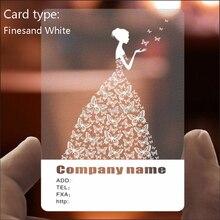 PVC Visitenkarte Personalisierte Design 200 stücke/500 stücke Matte Gesicht/Weiß tinte Transparent Kunststoff Visitenkarte Druck 85.5*54mm