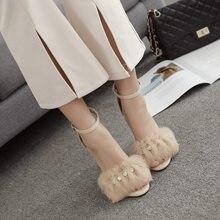 73fd420c824419 Jookrrix 2018 Summer New European Style Girl Fashion Brand Sexy Lady Sandals  Girl High Heel Rhinestone Shoes Women Chic Faux Fur