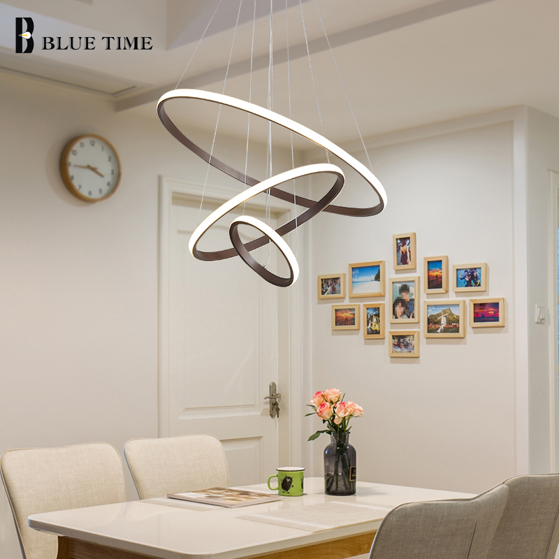 все цены на White&Coffee Body Modern LED Pendant Light 3 Circle Rings Hanging Lamp For Living Room Dining room LED Pendant Lamp Led Lustres