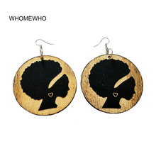 WHOMEWHo 60cm Africa Wood Native African Engraved Black Queen Tribal Earrings Vintage Bohemia Party Jewelry Wooden DIY Ear Gifts