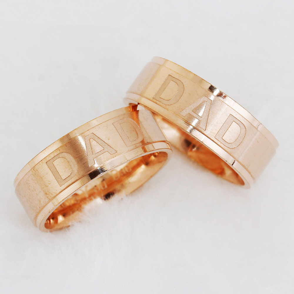 DoreenBeads Stainless Steel Rose Gold Color Unadjustable Finger Rings Men DAD Carved,US Size 7-11,1 Piece