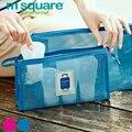 M square malla viajes compone el bolso de las mujeres bolsa de cosméticos de tocador organizador neceser bolsas de aseo maquillaje organizador del bolso de embrague