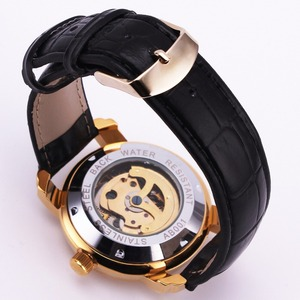 Image 2 - 勝者公式シンプルなカジュアル自動腕時計メンズスケルトン機械式メンズ腕時計トップブランドの高級革ストラップファッション時計
