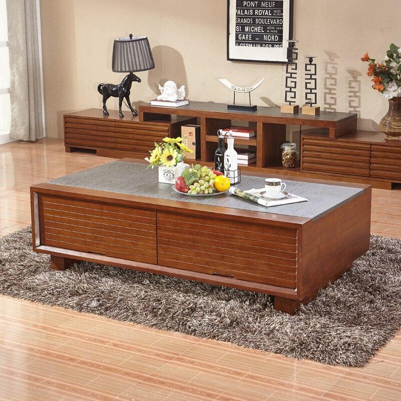 Large Storage Coffee Table: Walnut Wood Burning Stone Coffee Table Paper Series