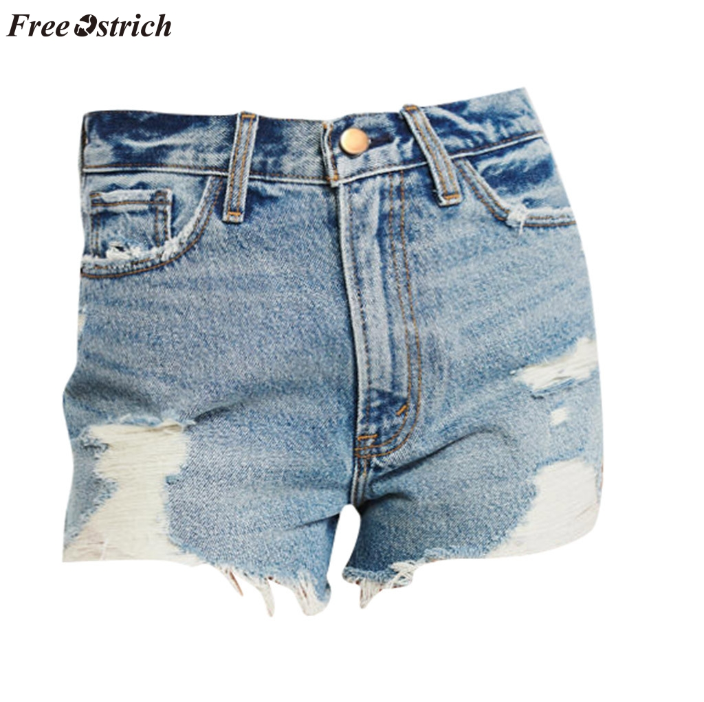 FREE OSTRICH Women's youthful vitality style stretch high waist   shorts   personality fashion lace denim paper bag   shorts   with belt